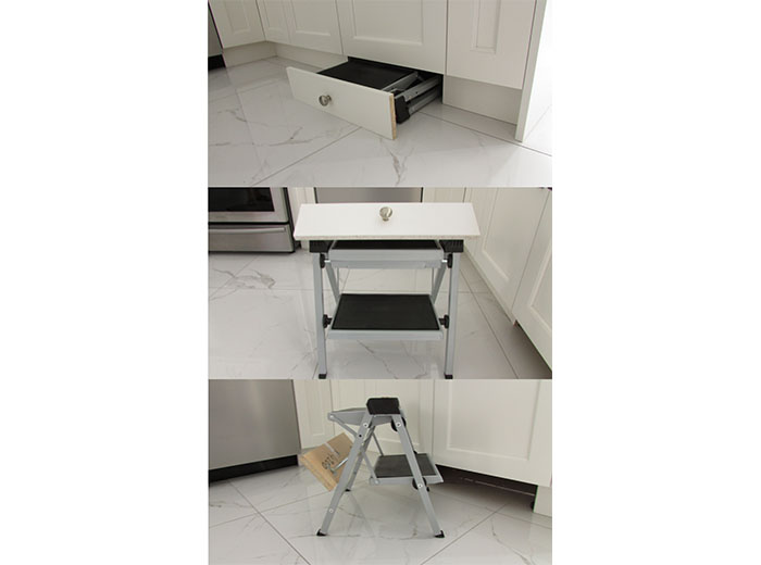 Stool in toe kick of cabinetry