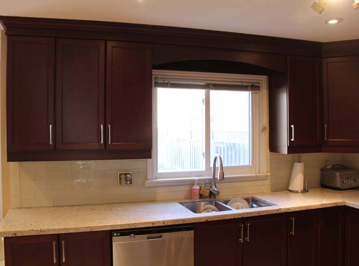 Red cherry solid wood custom kitchen by millo kitchens and for Cherry red kitchen cabinets