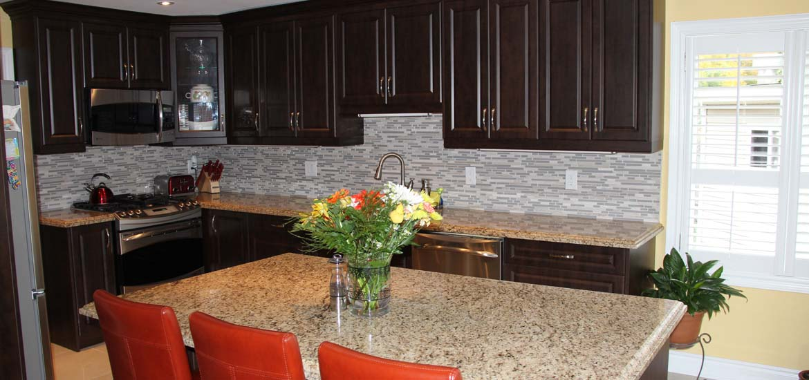 featured project mdf custom kitchen cabinets with free standing island - Ontario Kitchen Cabinets