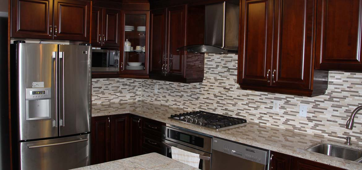 Dark Cherry Coloured Custom Kitchen Cabinets with Granite Countertop & Custom Kitchen with Granite Countertop in Mississauga by Millo ...