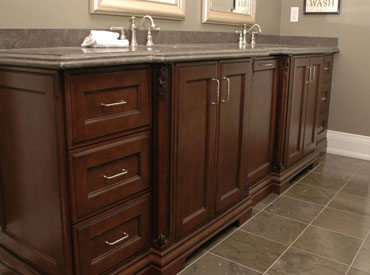 Custom bathroom vanity with granite countertop
