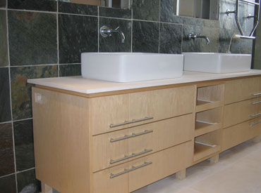 Custom bathroom vanity with shelving