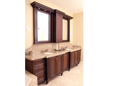 Custom bathroom vanity with double sink
