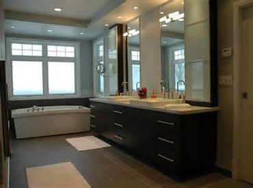 Bathroom vanity with cabinet storage