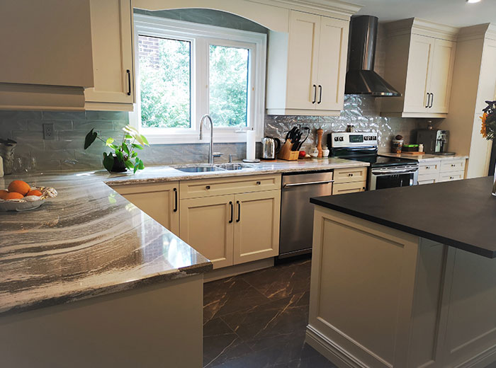 "Solid Wood Maple Transitional Kitchen with Soapstone Island <a href=""solid-wood-maple-transitional-kitchen-with-soapstone-island.html"">Click here to view this kitchen project</a>"