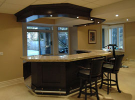 Basement bar with granite counter