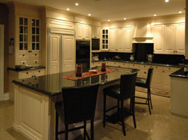 Custom kitchen cabinets with standalone island